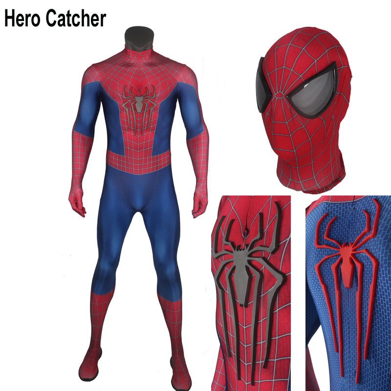 Hero Catcher Top Quality Muscle Shade Amazing Spider Man Cosplay Costume With Relief Logo Mirror Lens Amazing Spiderman Suit