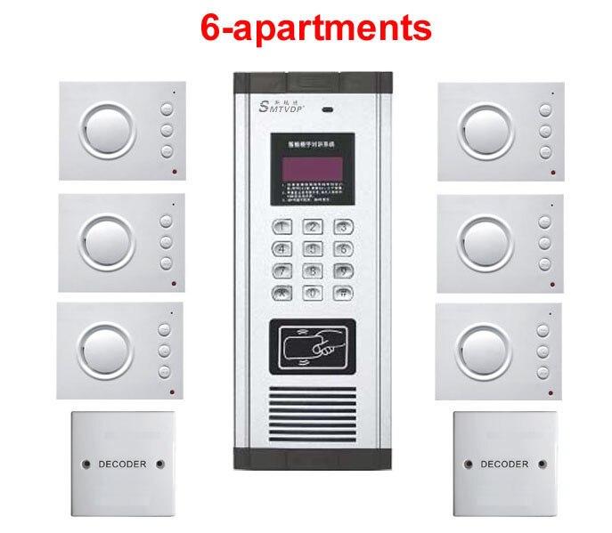 6-wohnungen Hand-free Audio Tür Telefon Passwort & Id Karte Entsperren Zu Verkaufen Treu Home Security Nicht-visuelle Gebäude Intercom System