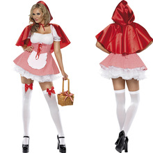 Halloween Little Red Riding Hood Kostyme Fairy Storybook Cosplay Outfit Plus størrelse S-6XL