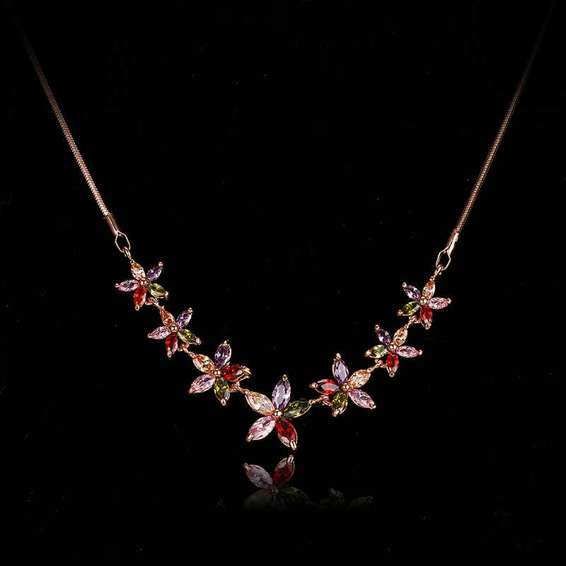 Emmaya Fashion Women Colorful Flower Zircon Necklace Rose/White Gold Color Necklaces for Women Anniversary Jewelry Wholesale