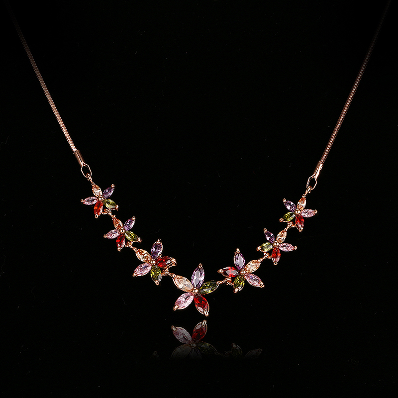 Emmaya Fashion Women Colorful Flower Zircon Necklace Rose/White Gold Color Necklaces for Women Anniversary Jewelry WholesaleEmmaya Fashion Women Colorful Flower Zircon Necklace Rose/White Gold Color Necklaces for Women Anniversary Jewelry Wholesale