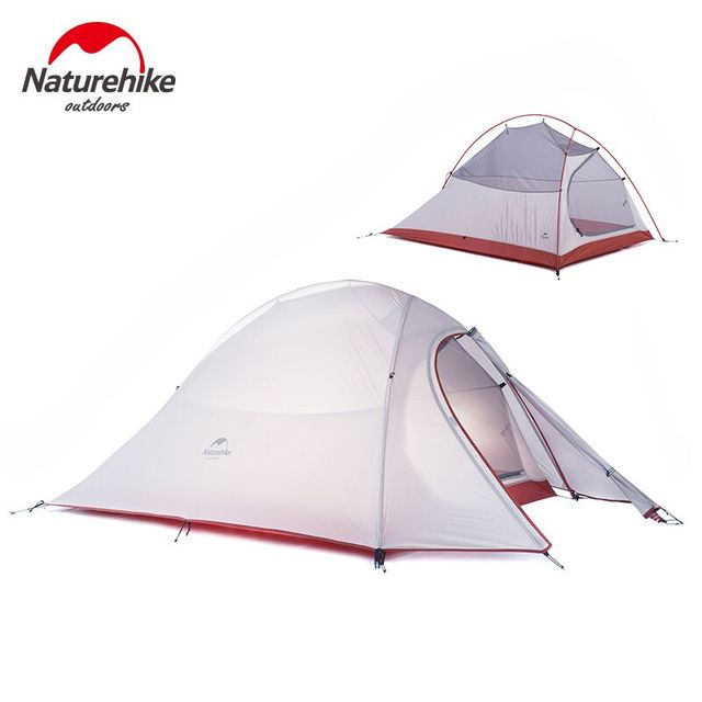 Naturehike Outdoor Tent 3 Person 210T/ 20D Silicone Fabric Double-layer Camping Tent Ultralight Family Tent Aluminum Pole 1