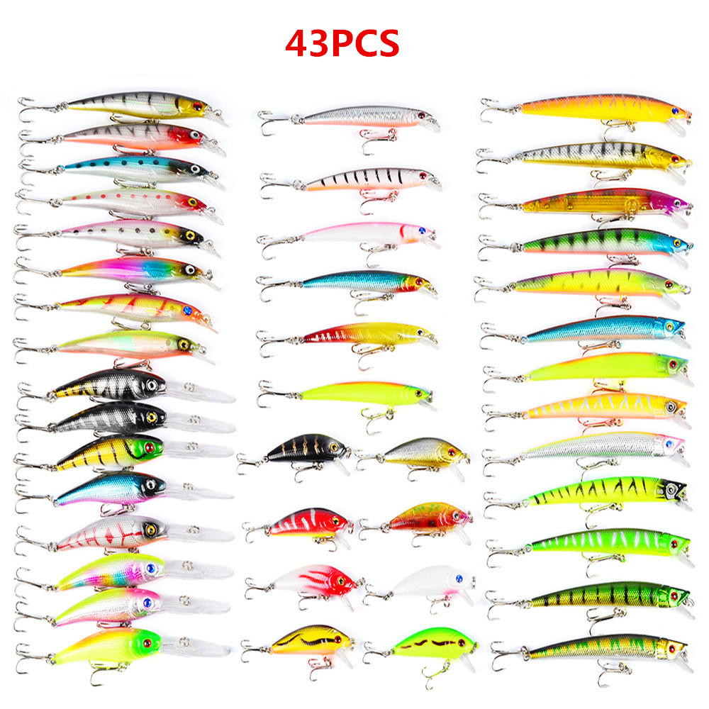 43pcs Mixed Fishing Lure Set Iscas Artificiais Para Pesca Minnow Fishing Wobblers Peche Kit Crankbait Hard Fishing Tackle L52 1pcs 12cm 11 5g fishing lure bass bait minnow lures 6 hook iscas artificiais para pesca crankbait fishing tackle zb34