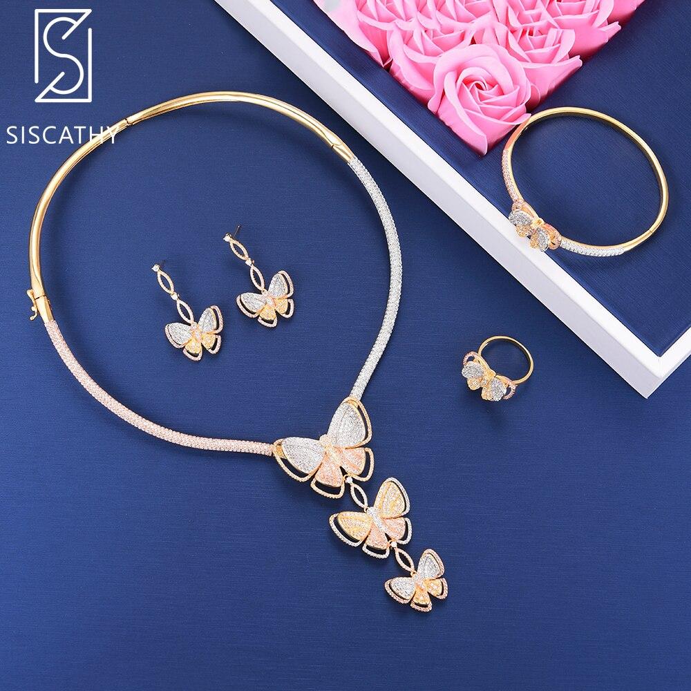 SISCATHY 4PCS Women Luxury Butterfly Shape Wedding Necklace Bracelet Ring Dangle Earrings Jewelry Set boucle d'oreille retro rhinestone rattan butterfly bracelet with ring