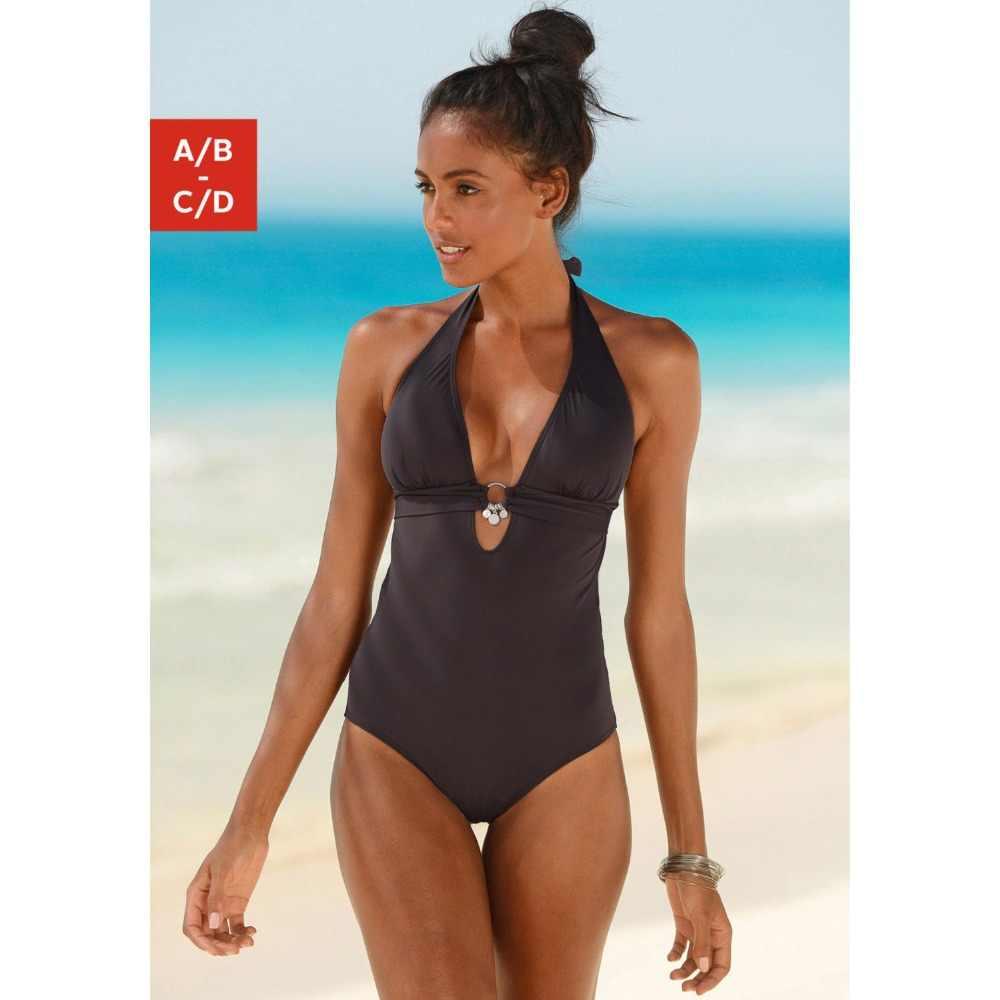 21dfc4230e39f ... Retro One Piece Swimsuit Women Swimwear Vintage Sexy Deep V Monokini  Bodysuit Solid Bath Suit Push ...