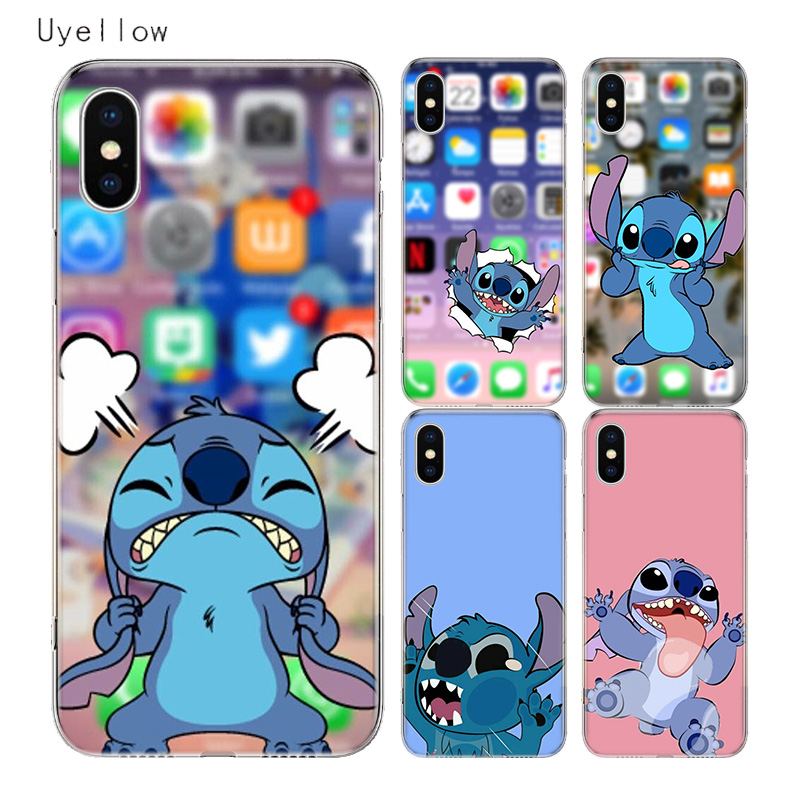 Uyellow Cartoon Cute Stitches Cover For Iphone 5 6 6S 7 8 9 10 Plus Trend Silicone Soft Phone Case Apple X XR XS MAX Coque