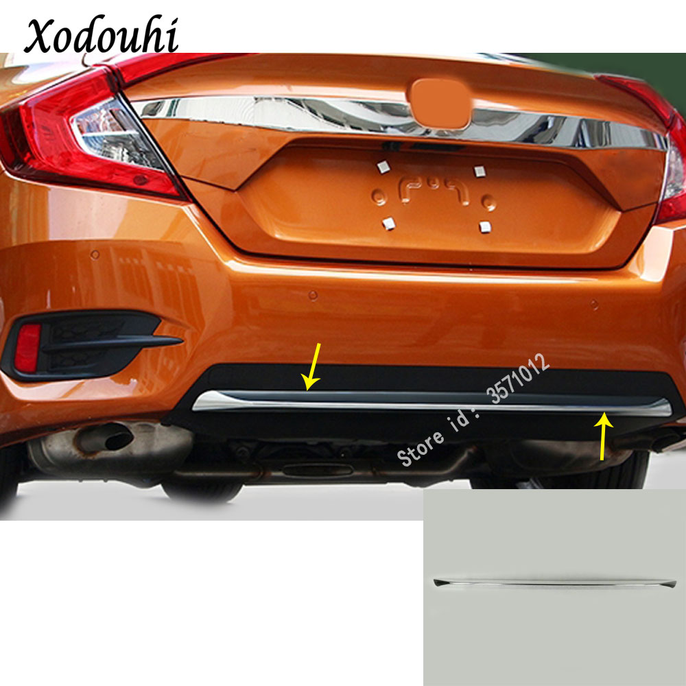 Car ABS Chrome Rear back Bumper tailgate pedal Strip trim plate lamp hoods 1pcs For Honda Civic 10th Sedan 2016 2017 2018 цена