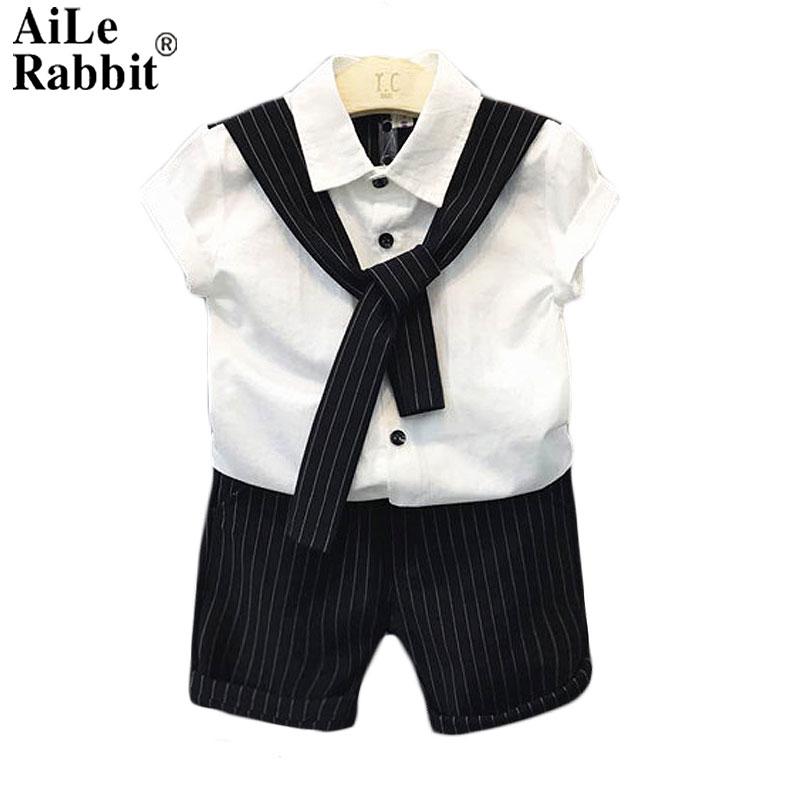 AiLe Rabbit 2018 Gentleman Boy Set Tie Fashion Cool Short Sleeve Top with Pants Shirt Suits  Shorts Kids Clothing White Black