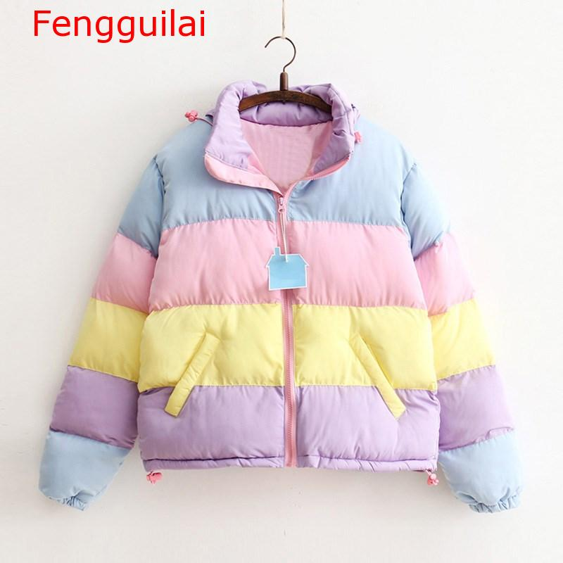 Women Coat 2019 Winter Harajuku   Parkas   Short Padded Warm Jacket Striped Clothing Rainbow Stripe Splicing Fluffy   Parka
