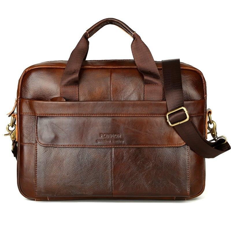 2018 New Men Briefcases Genuine Leather Handbag Vintage Laptop Briefcase Messenger Shoulder Bags Men's Bag Men's business pack цена