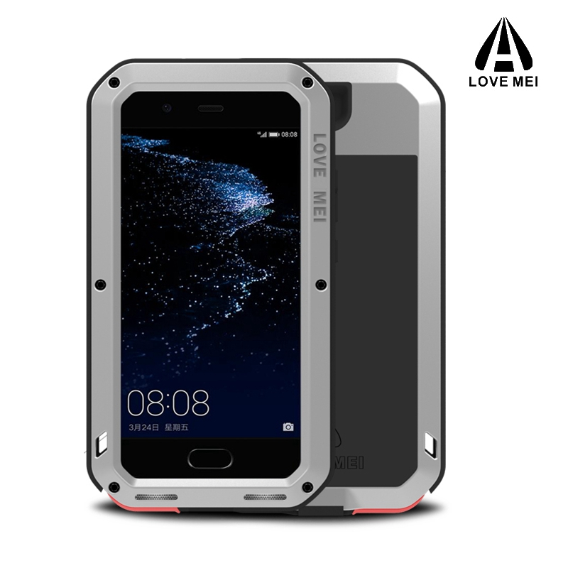 Love mei Aluminum Metal Cover For Huawei P10 Cases Armor Shockproof +Gorilla Glass Full Body Phone Cover For Huawei P10Plus Case