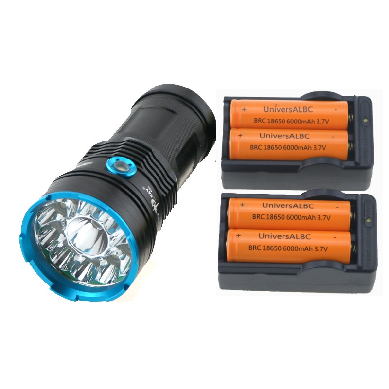 3 Modes Tactical Portable Led Flashlight 20000 Lumen 12xCree XM L T6 Leds Hunting Lamp Flashlights Torch+18650 Battery & Charger