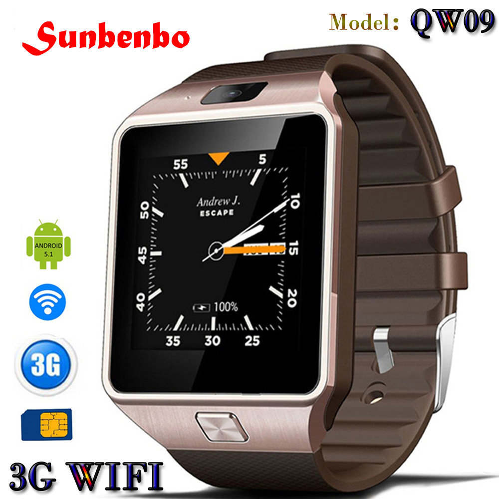 SUNBENBO 3G WIFI QW09 Android Smart Watch 512MB/4GB Bluetooth 4.0 Real-Pedometer SIM Card Call Anti-lost Smartwatch PK DZ09 GT08 zaoyiexport bluetooth 4 0 smart watch u10 support camera anti lost smartwatch for iphone xiaomi sumsung android pk u8 gt08 dz09