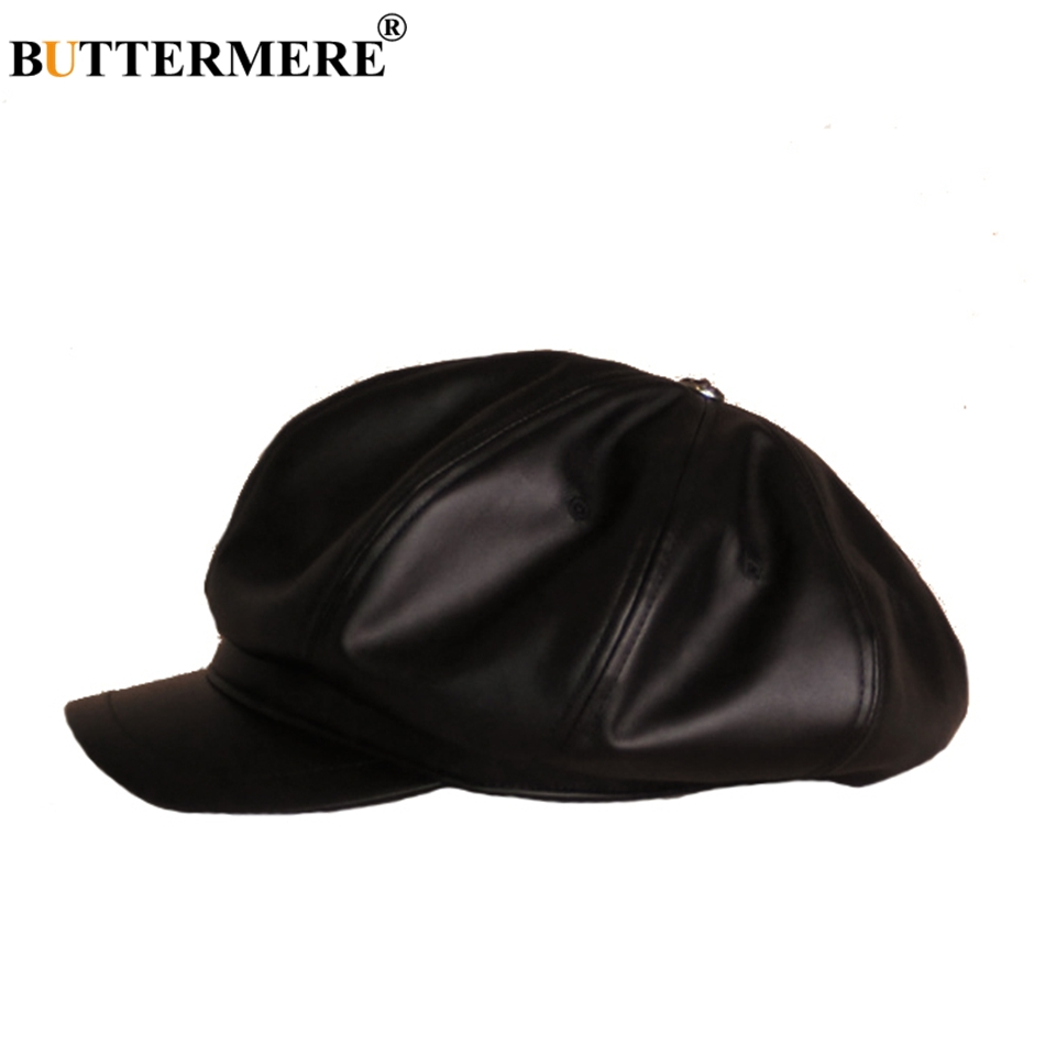 ff7792640fbee BUTTERMERE Oversized Hat Newsboy Men PU Leather Hats Octagonal Casual  Spring Female England Painter Classic British Flat Caps-in Newsboy Caps  from Apparel ...