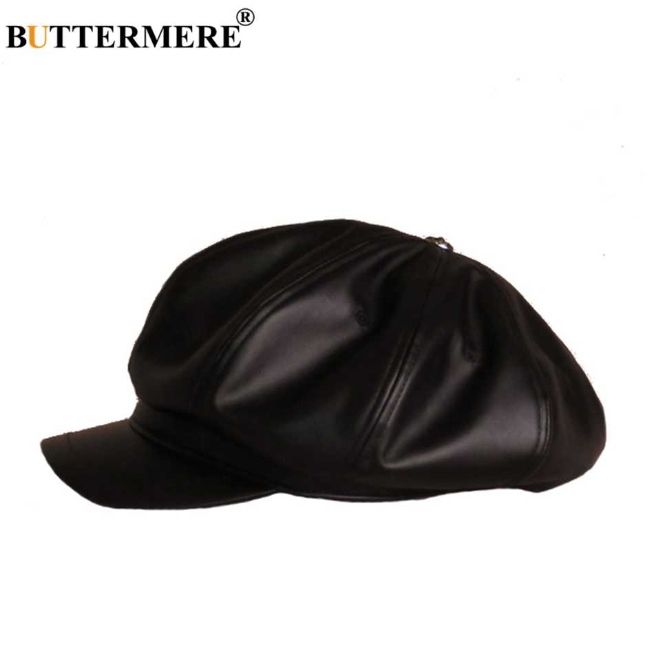 a7afdbef ... BUTTERMERE Oversized Hat Newsboy Men PU Leather Hats Octagonal Casual  Spring Female England Painter Classic British ...
