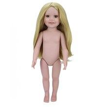 18″ American Girl Doll Lifelike Full Body Soft Vinyl Naked Doll Handmade Silicone Reborn Baby Dolls Toys for Girl Christmas Gift