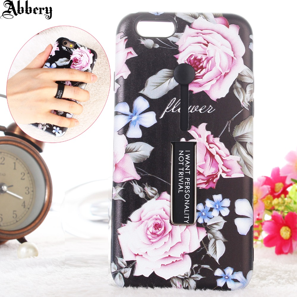 Flower Soft Silicon Case For iPhone 7 Plus 6 plus 6S 8 plus X Hide Ring Stand Holder Phone Cases for Samsung galaxy S9 plus A8