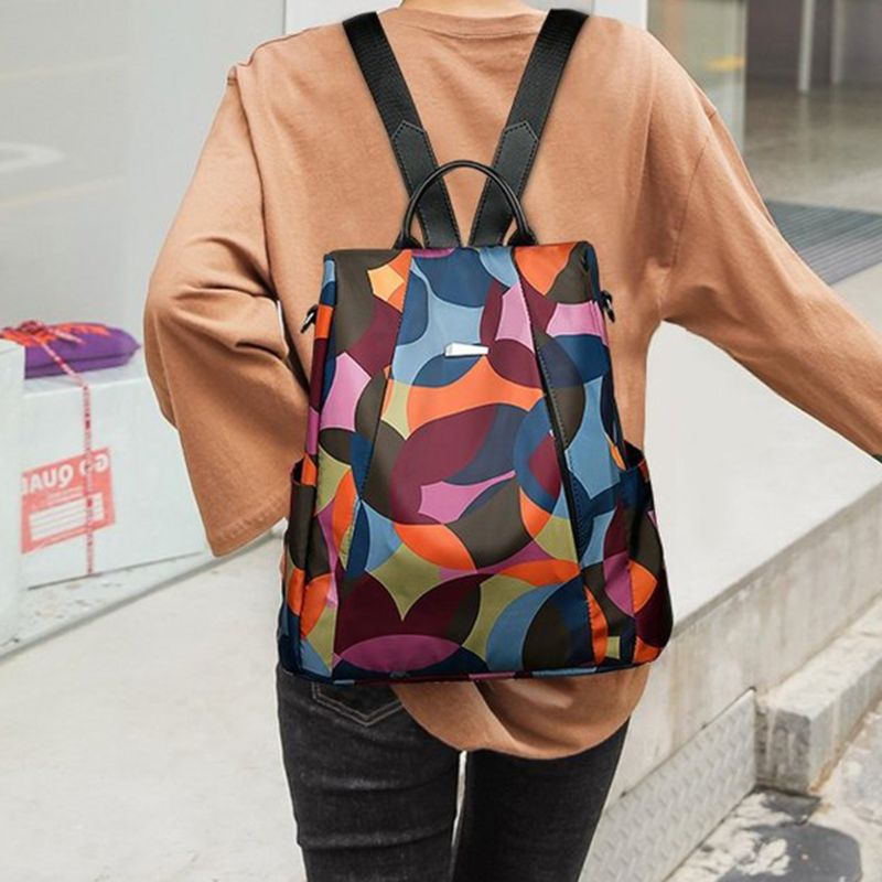 Women Nylon Backpack Shoulder Bag Schoolbag for Teenagers Casual Daypack College Style Preppy Style