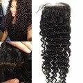 8A Grau Malaio virgem Fechamento Base de Seda onda Profunda do cabelo humano escuro/medium brown silk encerramento Free/Médio/3 Parte knots Ocultos