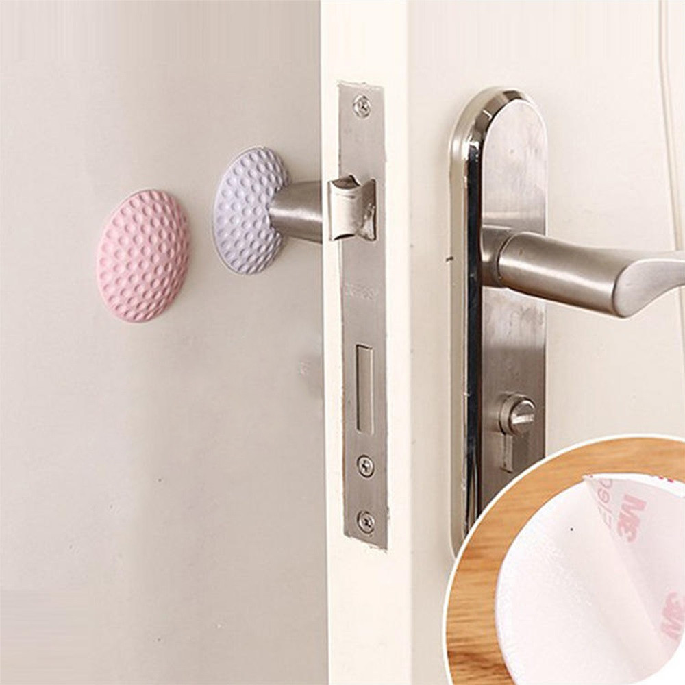 ISHOWTIENDA 2018 2Pcs Rubber Home Door Doorknob Back Wall