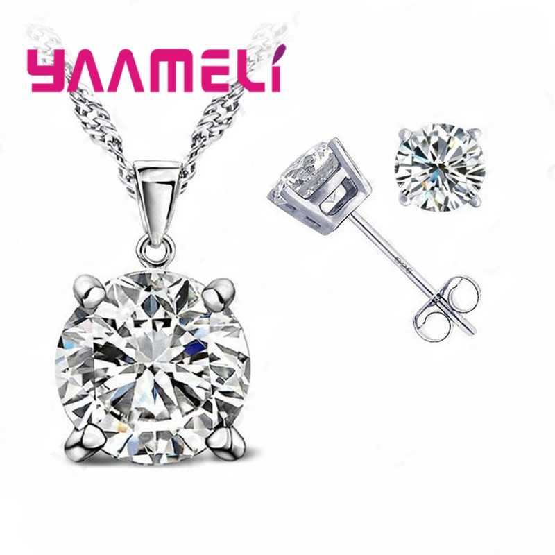 Free Shipping 925 Serling Silver Clear Cubic Zirconia Necklace Pendant Earrings Women Big Round Crystal Jewelry Sets