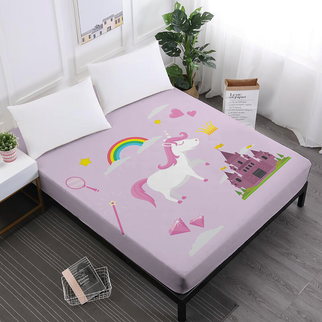 Nice Twin Full Queen King Bed Sheet Unicorn Print Deep Pocket Fitted Sheet Girls  Cute Cartoon Mattress