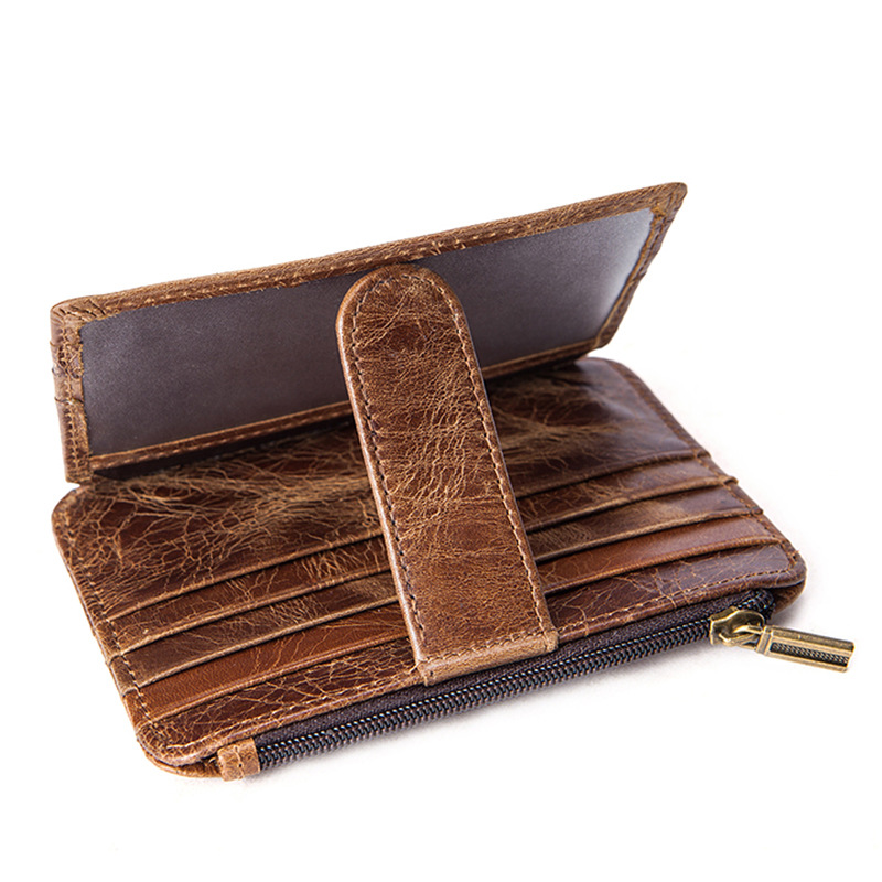 Zolanc Men Card Pack Coin Purse Retro Hasp Genuine Leather Wallet Multifunction Walet ID Credit Card Holder Bank Purse Bag