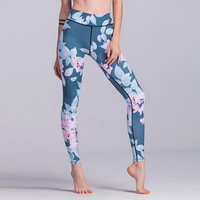 Womens Sport Leggings Push Up Floral Print Running Tights High Waist Elastic Gym Workout Trousers Stretch