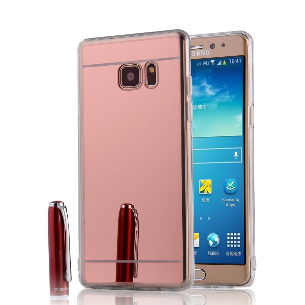 Electroplating Mirror Funda Case For Samsung Galaxy Note3 Note4 Note5 Note  3 4 5 Clear Soft