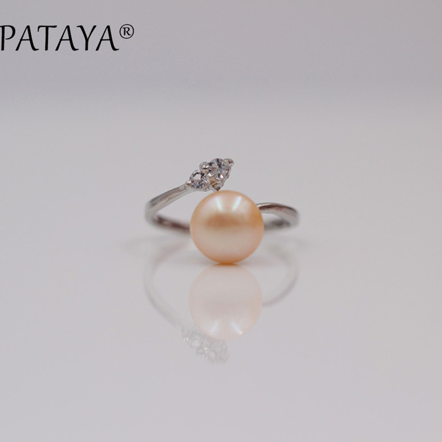 PATAYA New Arrivals Tricolor Natural Pearls Up Open Rings Little