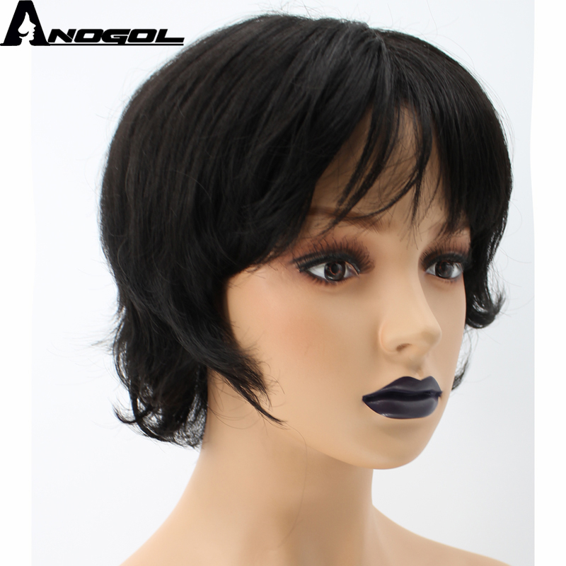 Anogol High Temperature Fiber Short Natural Wave Black Synthetic Wig With Baby Hair
