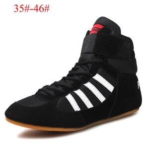 Zapatos de lucha de alta calidad para hombre y mujer, calzado de boxeo de cintura alta, suela de músculo de vaca, equipo de lucha profesional transpirable, talla 35