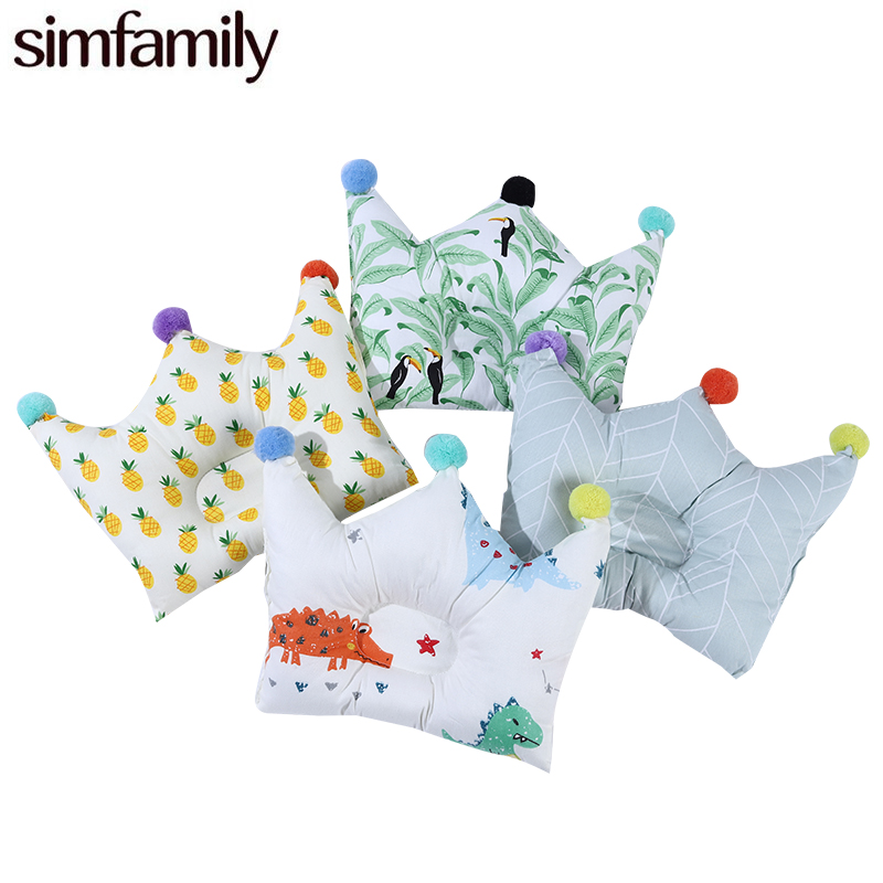 [Simfamily] Newborn Baby Cartoon Pillows Crown Shape Head Protect Baby Bedding Cushion Pad Baby Head Support Prevent Pillow