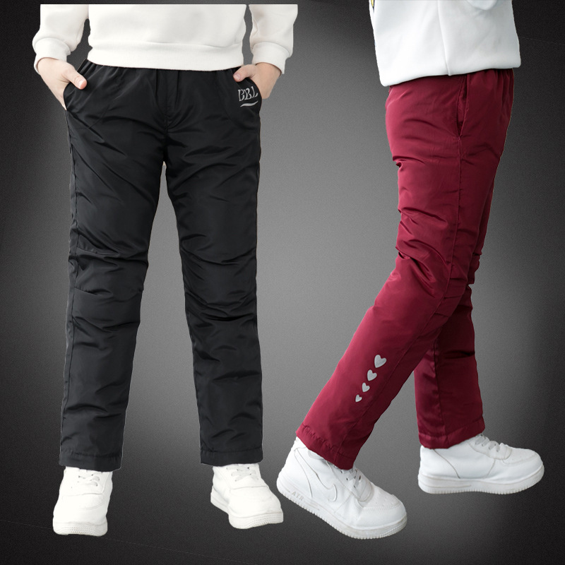 2021 Winter New Boys Pants Girls Leggings Children Down Cotton Warm Trousers Baby Waterproof Ski Pants Kids Boys Child Clothes 1