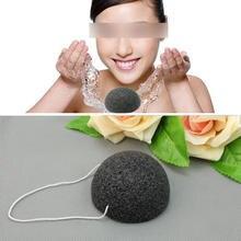 Negro Natural Konjac Konnyaku Facial Exfoliante Facial de Limpieza Esponja De Lavado de Hojaldre Tool Cuidado Facial Para Las Mujeres