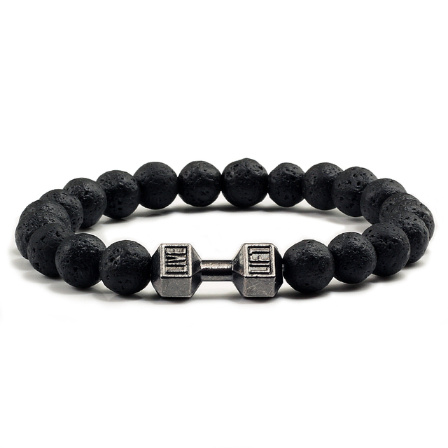 Natural Black Volcanic Lava Stone Dumbbell Bracelet black Matte Beads Bracelets For Women Men Fitness Barbell Jewelry Pulseras