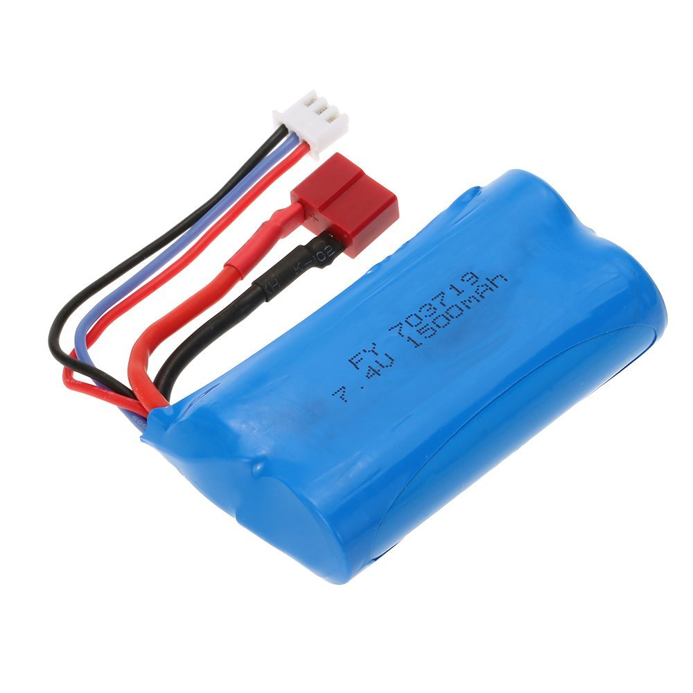 EBOYU(TM) 7.4V 1500mAh Battery with T Plug for FEIYUE FY-03 FY01 FY02 Wltoys 12428 12401 12402 12403 12404 12423 + other RC Car wltoys 12428 12423 1 12 rc car spare parts 12428 0091 12428 0133 front rear diff gear differential gear complete