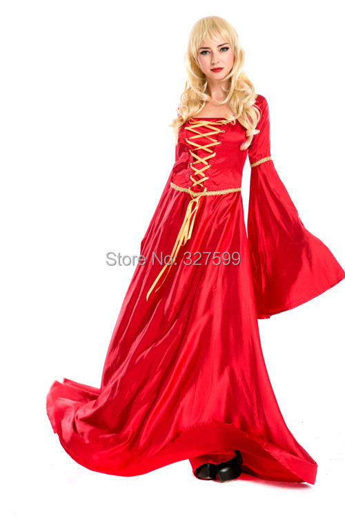 Lolita Gothic Renaissance Medieval Costume Mythic long red Dress Court costume Halloween princess party games luxury clothing