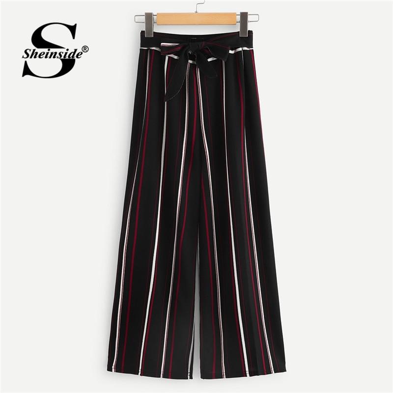 Sheinside Striped Bow Tie   Wide     Leg     Pants   Women Loose   Pants   Belted Elegant Womens Trousers 2019 Spring Ladies High Waist   Pants