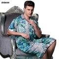 BXMAN Бренд мужской Случайные Pijamas Hombre мужские Атласные Пижамы Район Печати Кнопка отложным Воротником С Коротким Рукавом Колен Пижамы