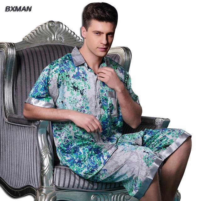BXMAN Brand Men's Casual Pijamas Hombre Men's Satin Pajamas Rayon Print Button Turn-down Collar Short Sleeve Knee Length Pajamas