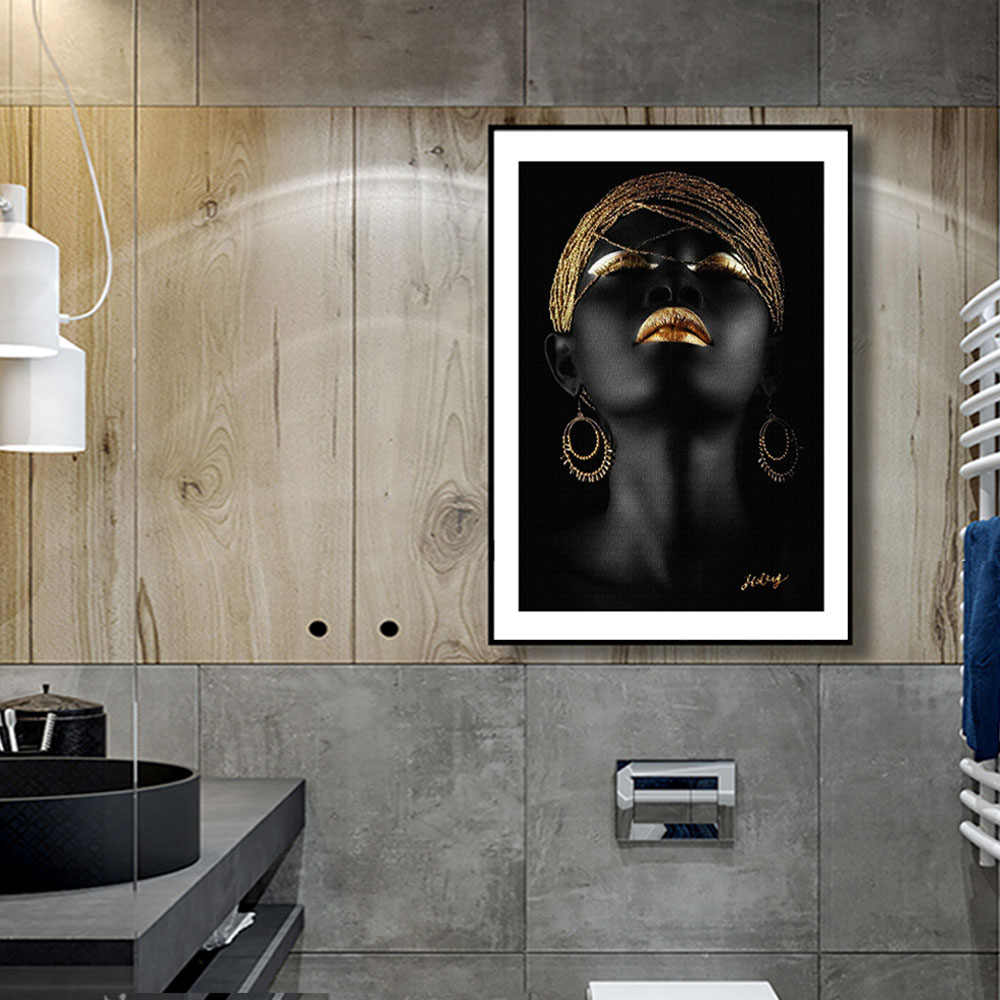 WANGART Modern Photo Pictures Black Sexy Girl Lips Gold Canvas Painting Wall Art For Living Room Home Decor Posters and Prints