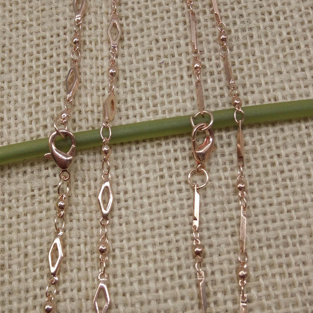 Wholesales 5pcs full handmade rose gold color beauty Necklace 65CM