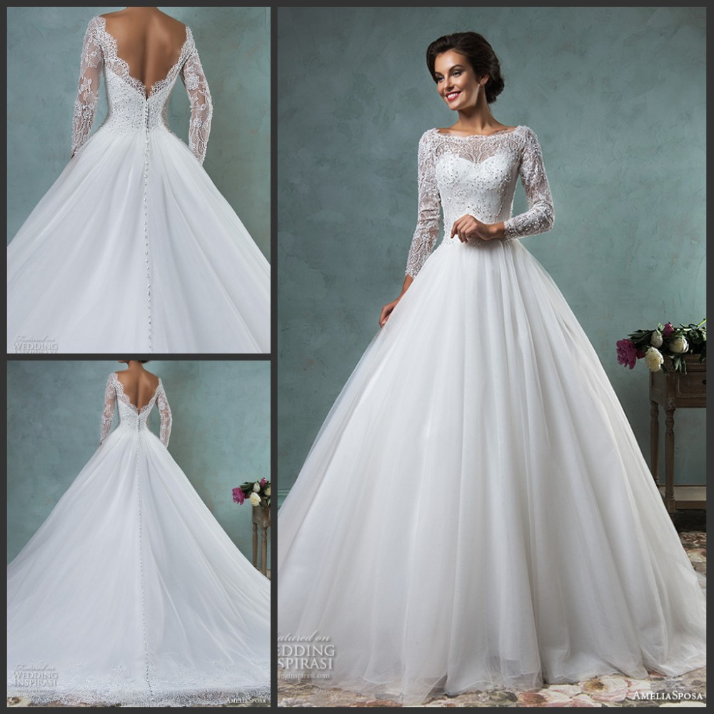 2017 wedding dresses bateau neckline lace long sleeves for A line wedding dresses 2017