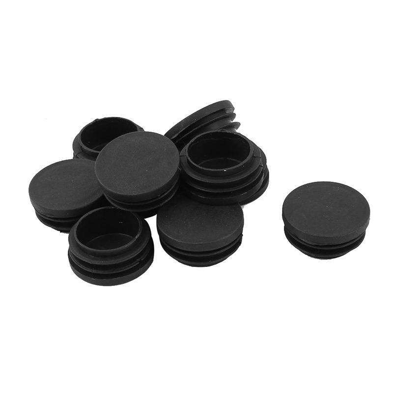 10 Pcs Plastic Blanking End Caps 38mm Round Tube Insert Plug Black