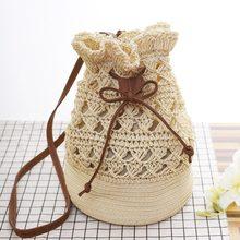 9d63be85feca Для женщин крючком сумка-мешок Мода Boho Летняя Пляжная Соломенная Сумочка  Для женщин Crossbody шнурок · Доступно цветов: 2