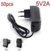 50pcs Micro USB AC to DC Power Adapter supply EU Plug Iuput 100V 240V Converter adapter Output DC 5V 2A 2000mA for Raspberry Pi