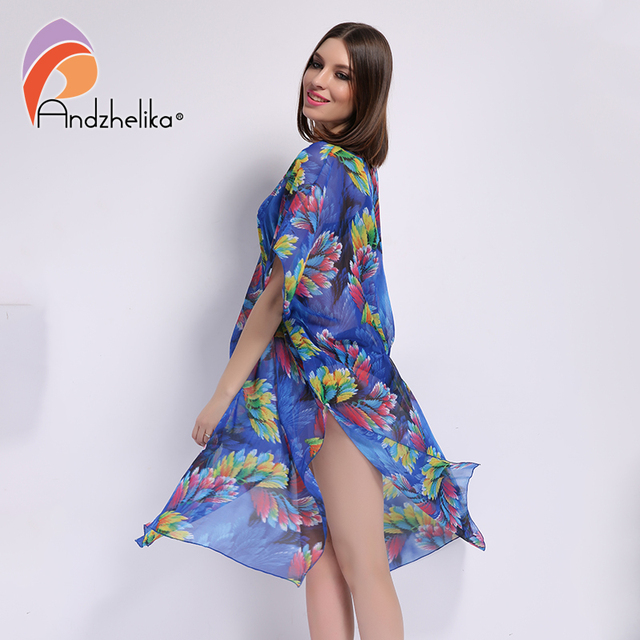 Andzhelika 2017 New Plus Size Beach Cover Up Women Print Chiffon beach dress Swimwear Cover Up Dress Beach Wear