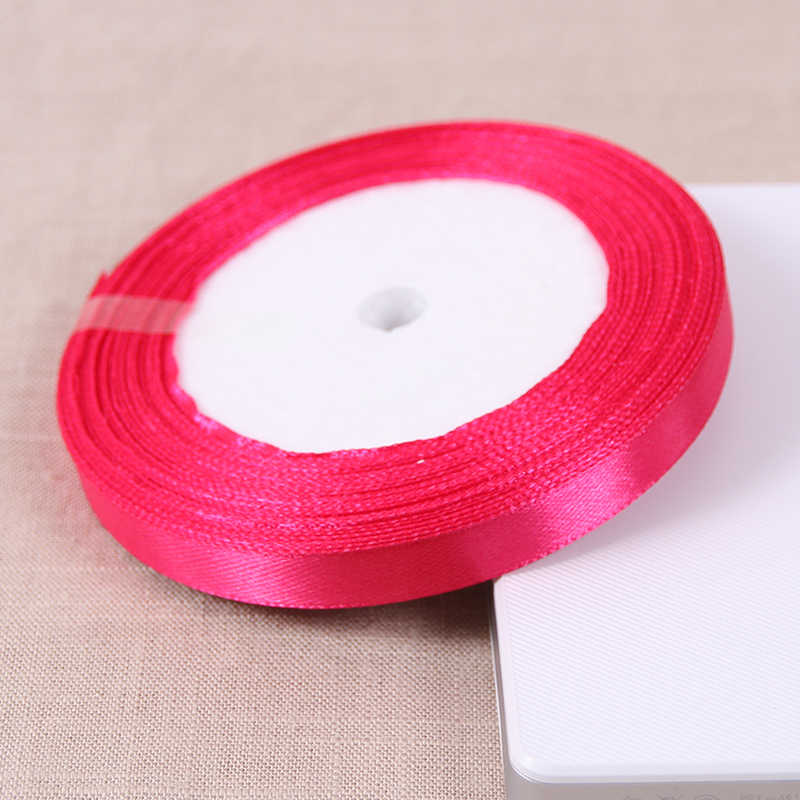 A Roll 1CM Width 25 Yards Polyester Ribbon Chrismas Wedding Decoration Wrap  Satin Fabric Ribbons DIY Material Hair Accessories