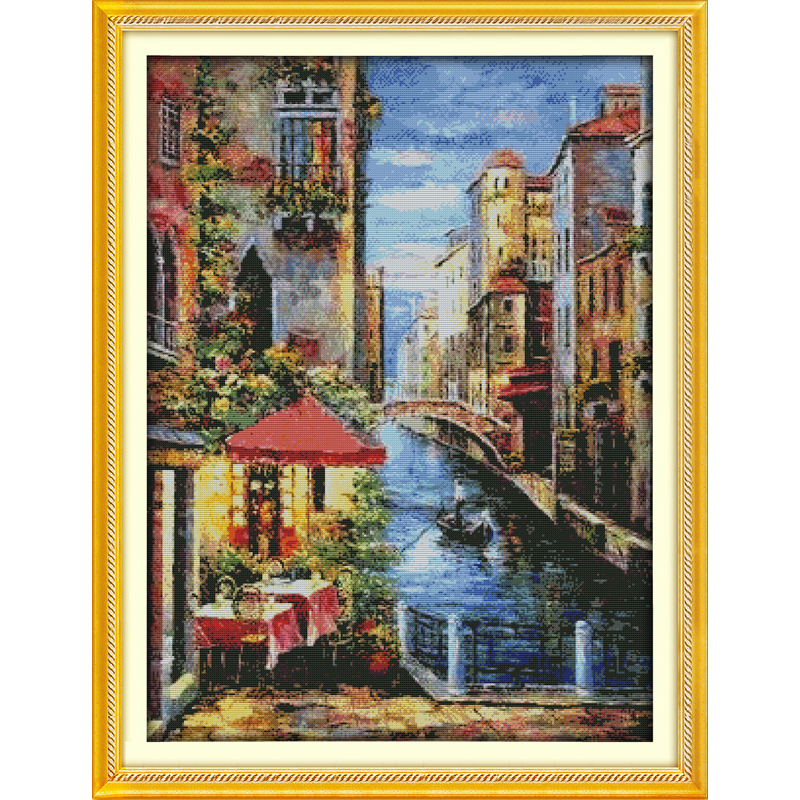 14ct Counted Cross Stitch Kit 4 X STREET SCENES IN ONE